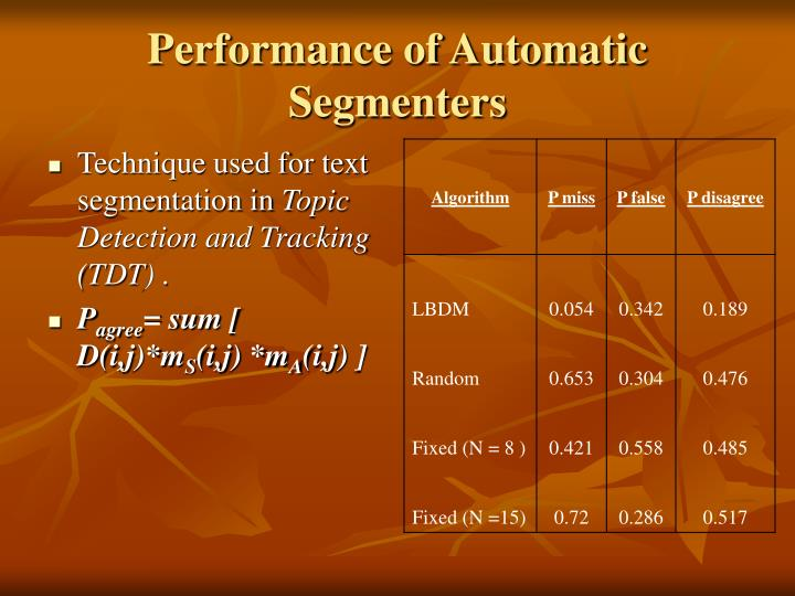 Performance of Automatic Segmenters