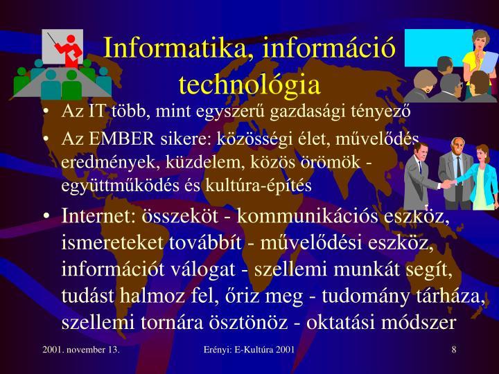 Informatika, információ technológia