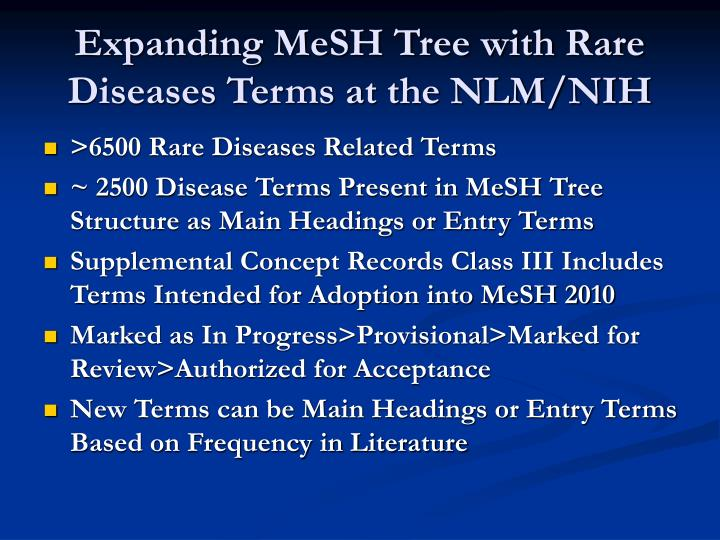 Expanding MeSH Tree with Rare Diseases Terms at the NLM/NIH