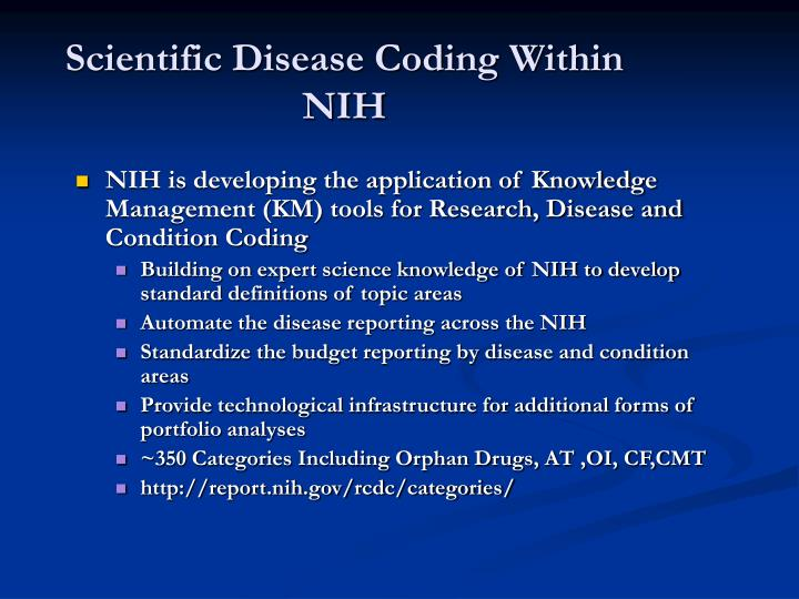 Scientific Disease Coding Within NIH