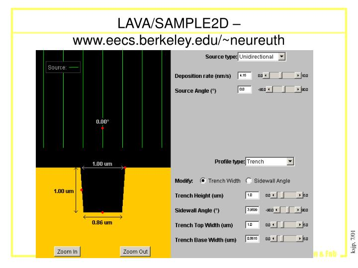 LAVA/SAMPLE2D – www.eecs.berkeley.edu/~neureuth
