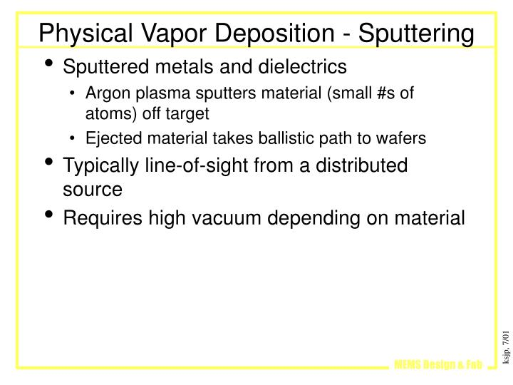 Physical Vapor Deposition - Sputtering