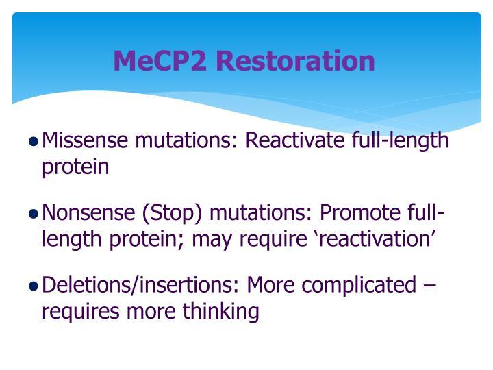 MeCP2 Restoration