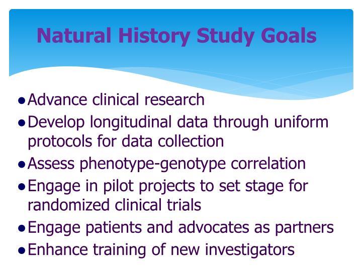 Natural History Study Goals