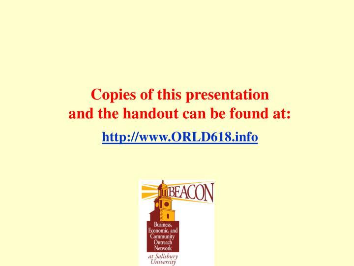 Copies of this presentation