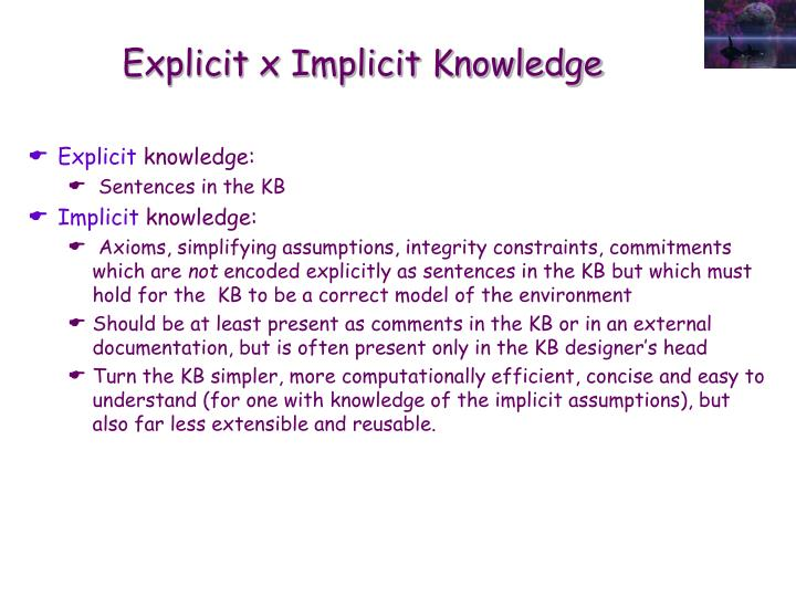Explicit x Implicit Knowledge
