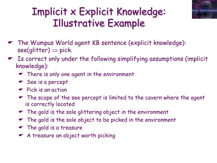 Implicit x Explicit Knowledge: Illustrative Example