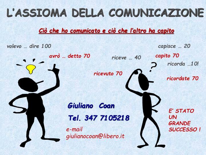 L'ASSIOMA DELLA COMUNICAZIONE