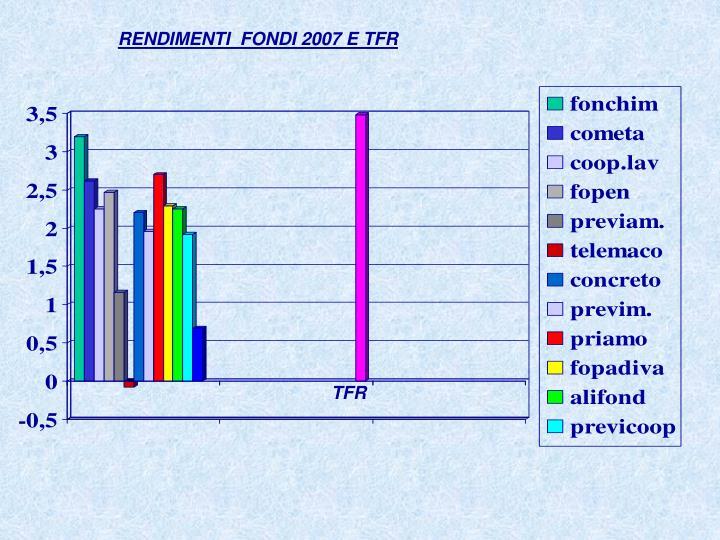 RENDIMENTI  FONDI 2007 E TFR