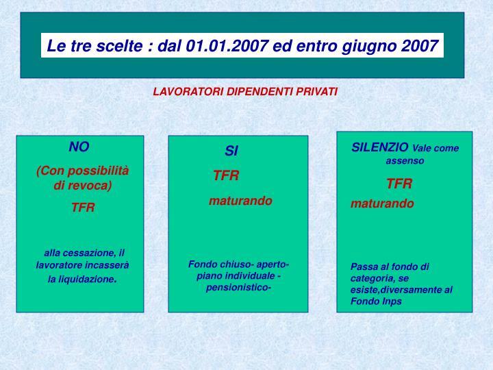Le tre scelte : dal 01.01.2007 ed entro giugno 2007