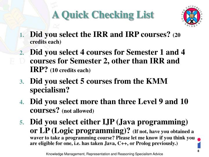 A Quick Checking List