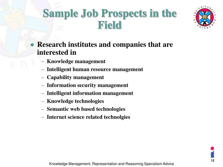 Sample Job Prospects in the Field