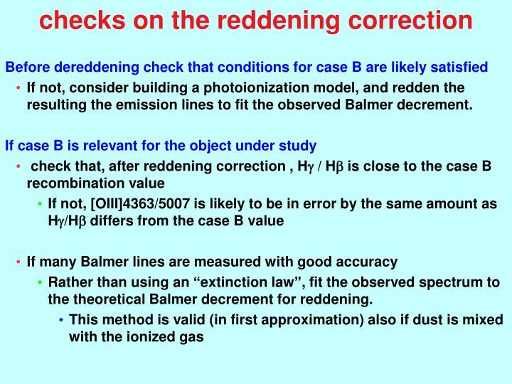 checks on the reddening correction