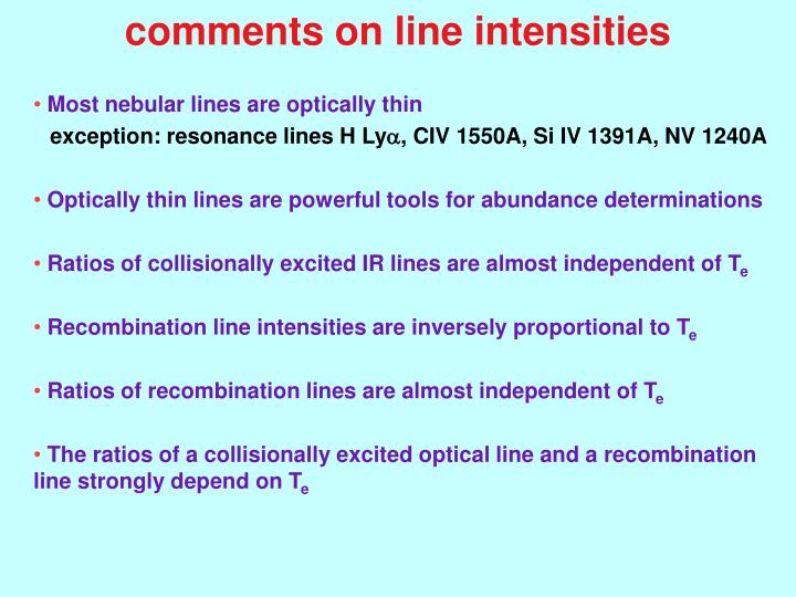 comments on line intensities