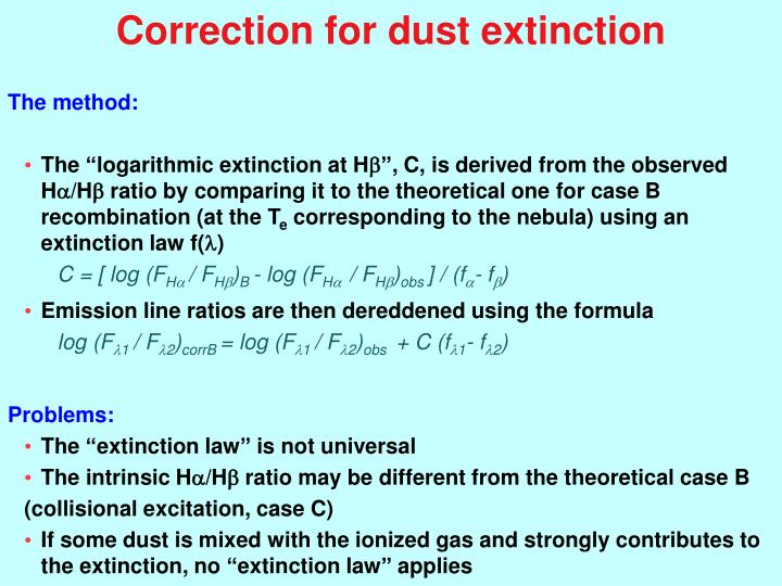 Correction for dust extinction