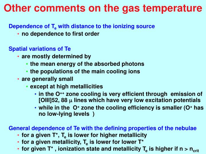 Other comments on the gas temperature