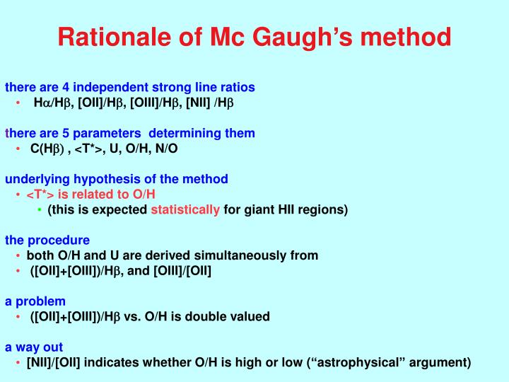 Rationale of Mc Gaugh's method