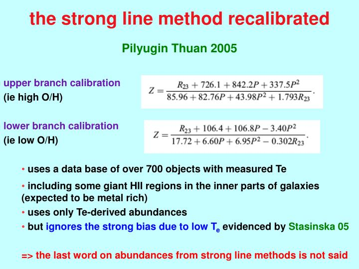 the strong line method recalibrated