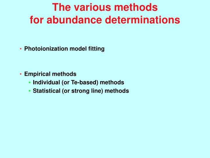 The various methods