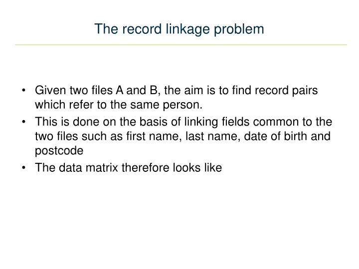 The record linkage problem