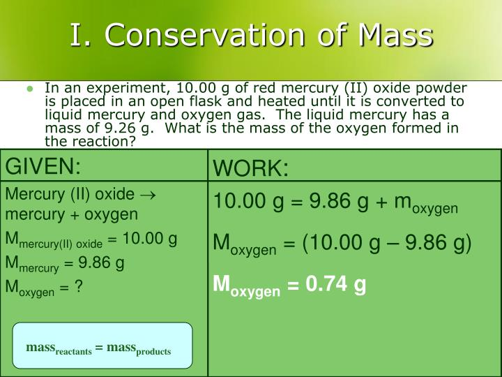 I. Conservation of Mass