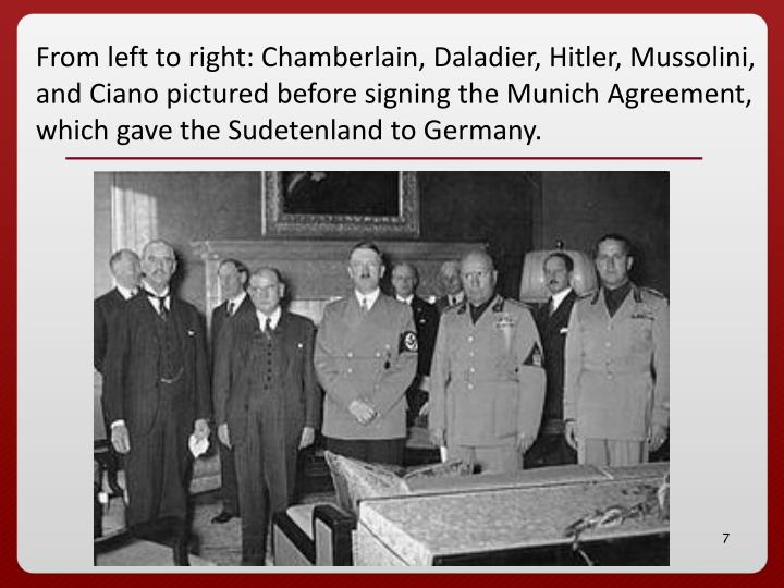 From left to right: Chamberlain, Daladier, Hitler, Mussolini, and Ciano pictured before signing the Munich Agreement, which gave the Sudetenland to Germany.