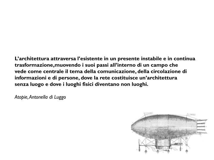 L'architettura attraversa l'esistente in un presente instabile e in continua