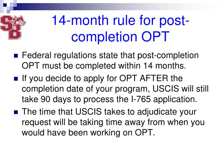 14-month rule for post-completion OPT