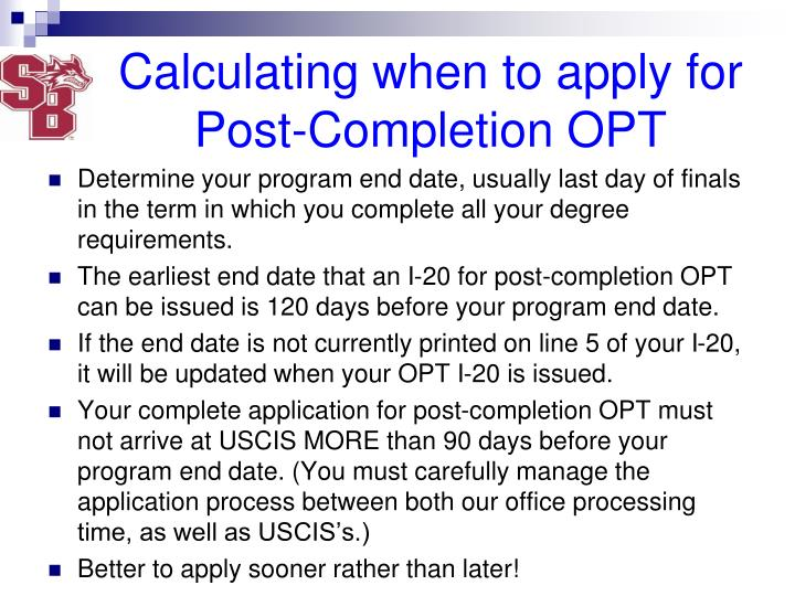 Calculating when to apply for Post-Completion OPT