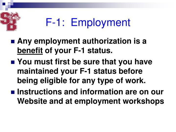 F-1:  Employment