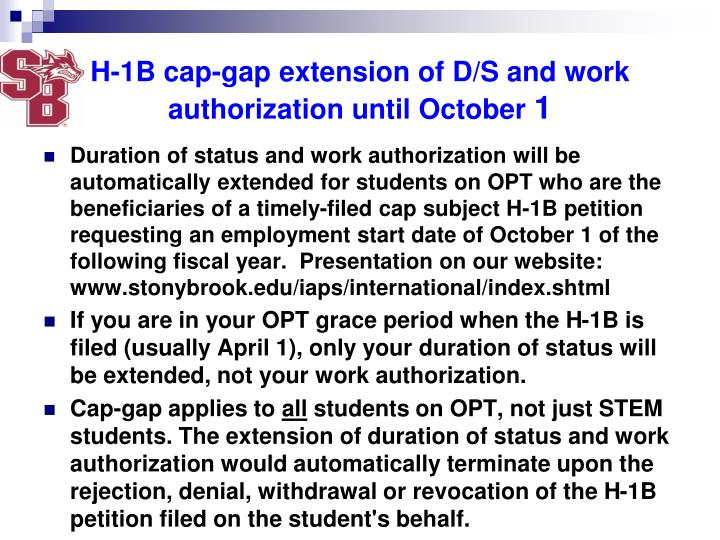 H-1B cap-gap extension of D/S and work authorization until October