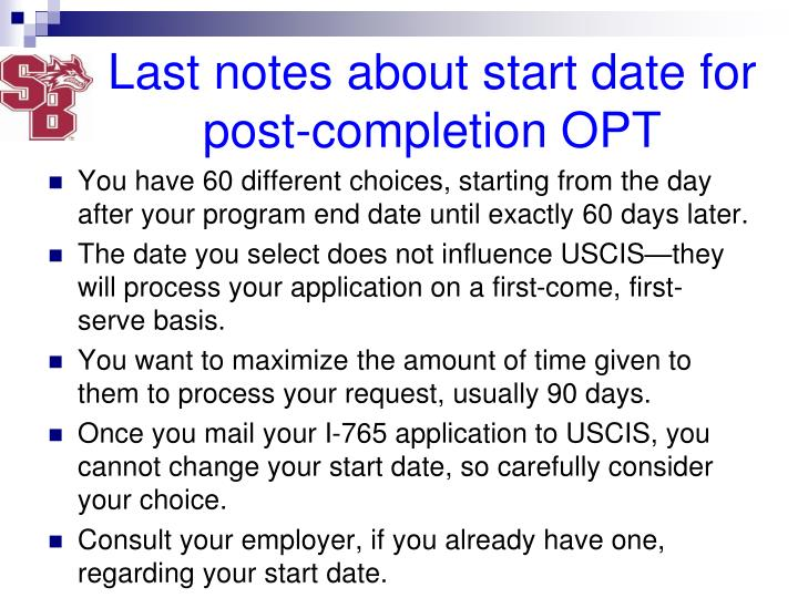 Last notes about start date for post-completion OPT