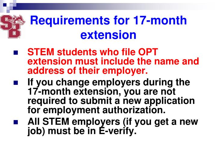 Requirements for 17-month extension