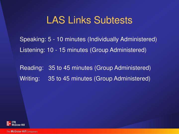 LAS Links Subtests