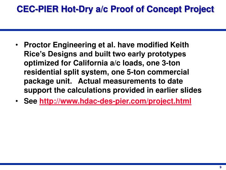 CEC-PIER Hot-Dry a/c Proof of Concept Project