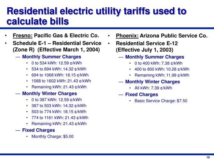 Residential electric utility tariffs used to calculate bills
