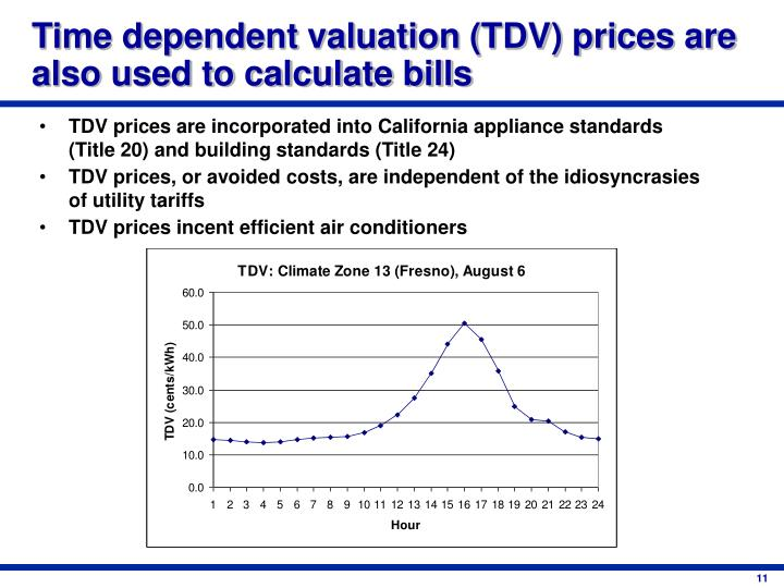 Time dependent valuation (TDV) prices are also used to calculate bills