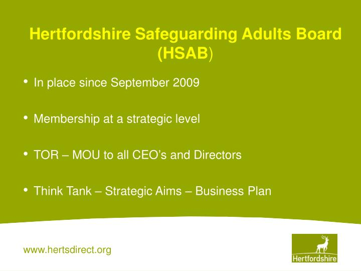 Hertfordshire safeguarding adults board hsab