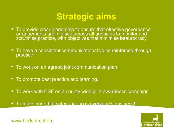 Strategic aims