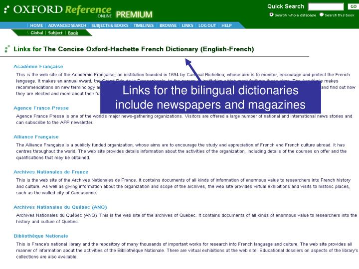 Links for the bilingual dictionaries include newspapers and magazines