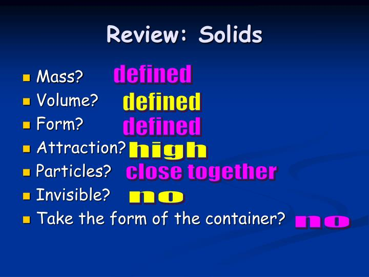 Review: Solids
