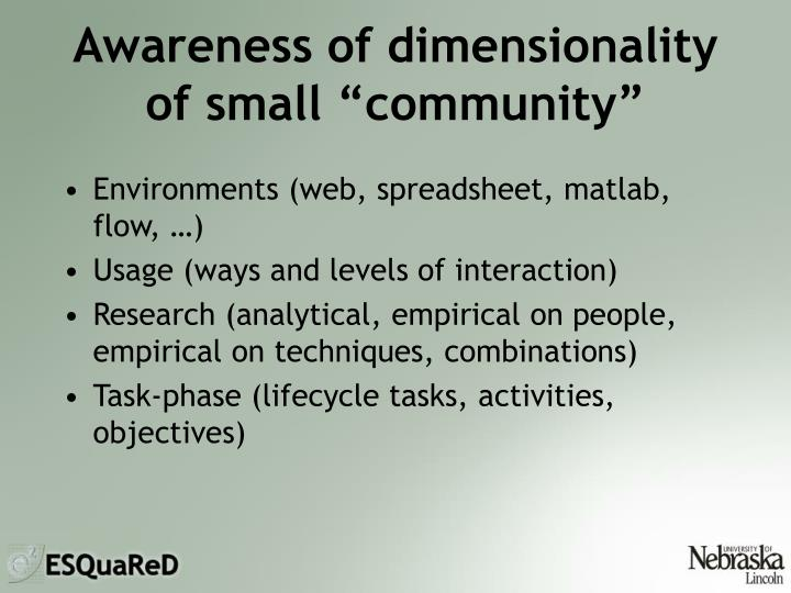 Awareness of dimensionality
