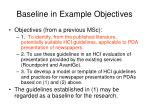baseline in example objectives