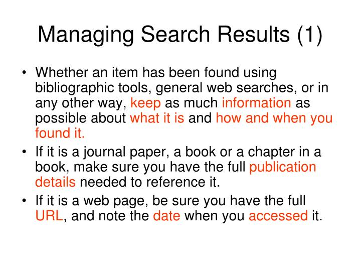 Managing Search Results (1)