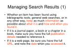 managing search results 1