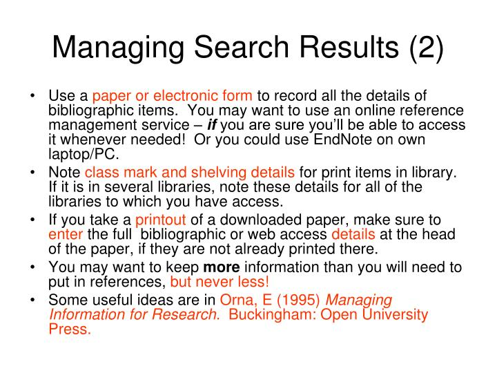 Managing Search Results (2)