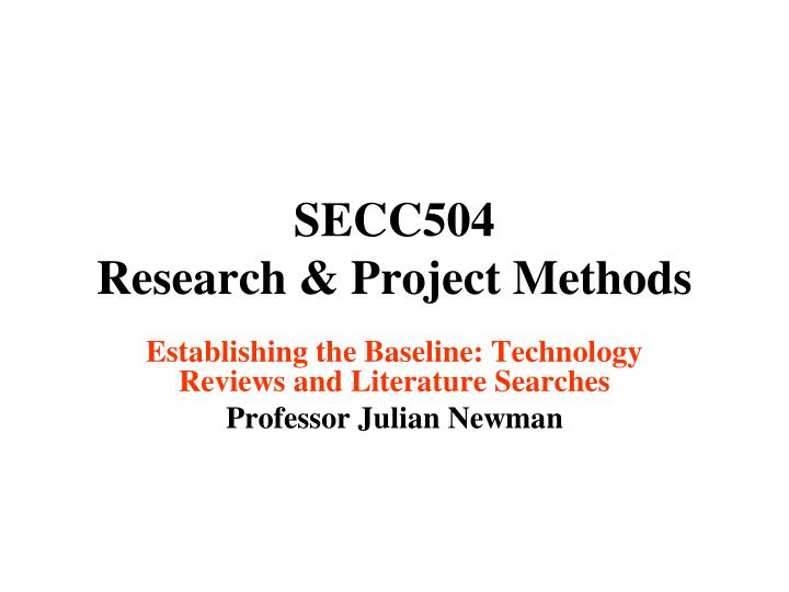 Secc504 research project methods