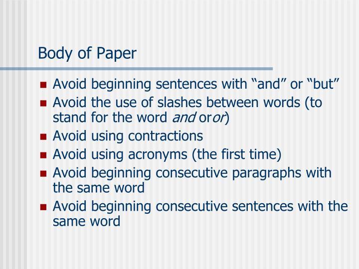 Body of Paper