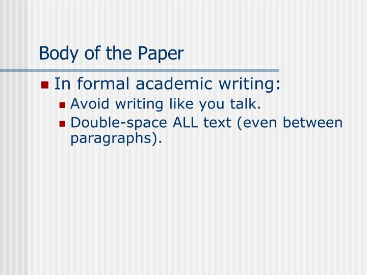 Body of the Paper