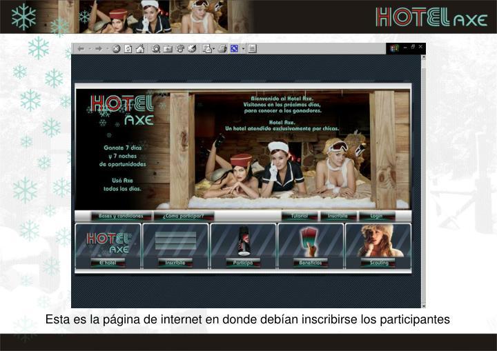 Esta es la página de internet en donde debían inscribirse los participantes